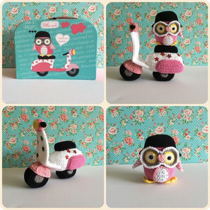 Amigurumi Owl with Vespa. Made by Kriziwizi@hotmail.com Http://Kriziwizi-com.webs.com