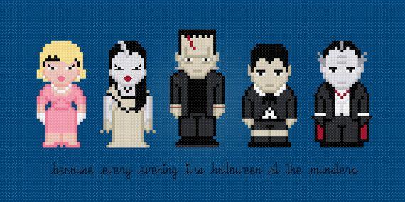 The Munsters TV Characters - Digital PDF Cross Stitch Pattern