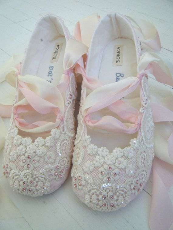 Pink and Ivory Lace Ballet Wedding Bridal Shoes BECCA by BobkaBaby, $235.00