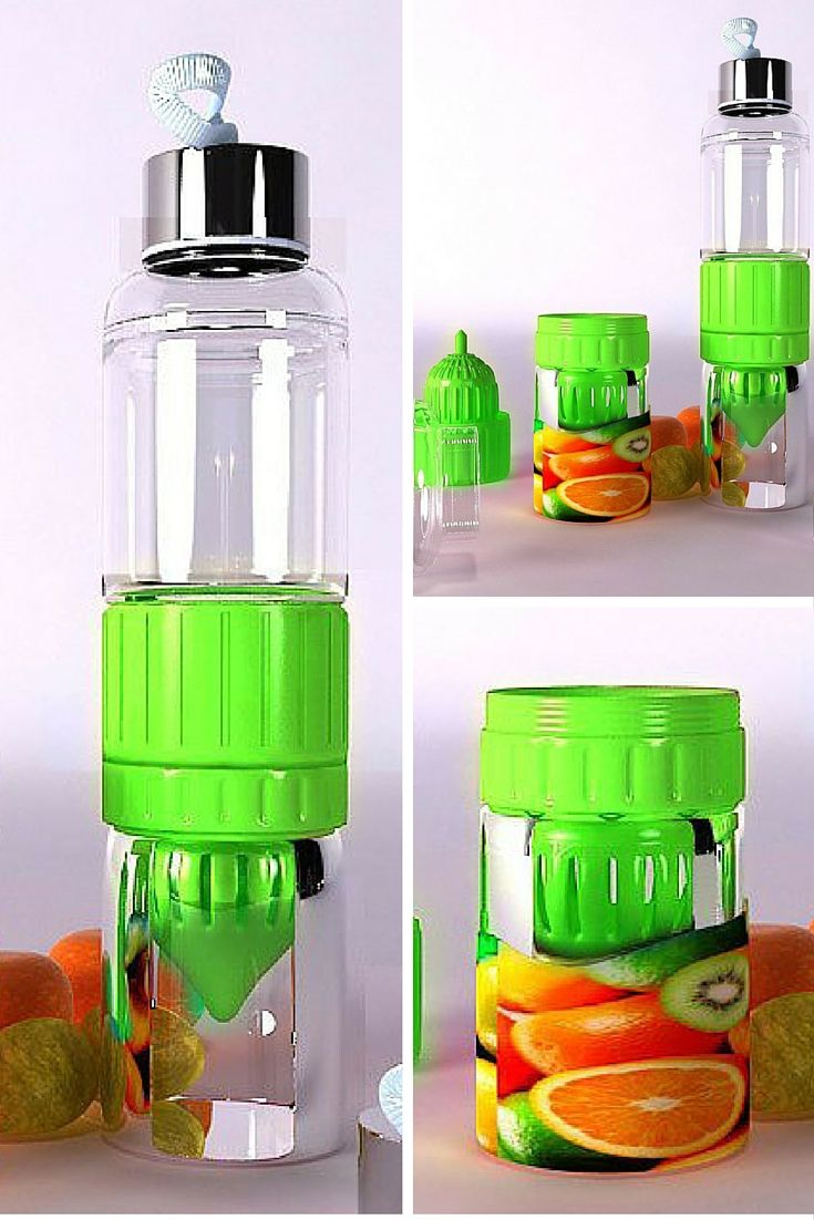 Fruit Infused Lemon Glass Water Bottle.  Lemon Glass Water Bottle with Fruit Infuser offers an easy way to extract juice and flavor from fruits and infuse them directly into your water bottle. Simply unscrew the bottom cup, twist/press a citrus half, and replace the bottom cup. The nutrients, flavors, and aromas are released into the water while the pulp and rind are kept at the bottom for steeping more flavor