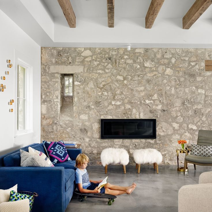 Tribeza Magazine - Gold Seed Wall Play from Gold Leaf Design Group.     http://homeworlddesign.com/farmhouse-in-west-austin-texas/