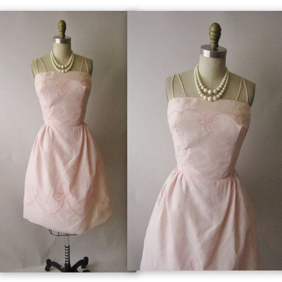 50's Chiffon Dress // Vintage 1950's Pink by TheVintageStudio