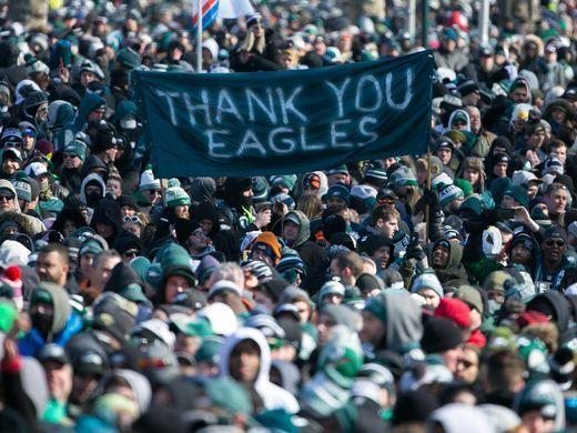 Thousands gather around the Rocky steps of the Philadelphia