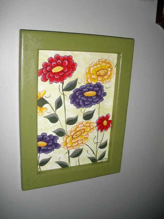 Framed Zinnia Bouquet  Paintng by LeeArt on Etsy