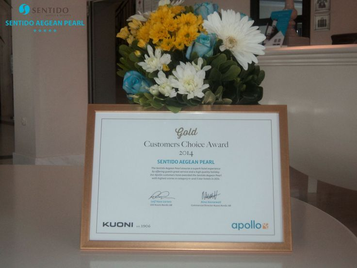 """Gold Customers Choice Award 2014 - SENTIDO AEGEAN PEARL. """"Sentido Aegean Pearl ensures a superb hotel experience by offering guests a high quality holiday."""" Our Apollo customers have awarded the Sentido Aegean Pearl with highest scores in category 4+ and 5 Star hotels in 2014. Leif Vase Larsen - CEO Kuoni Nordic AB, Nina Hornewall - Commercial Director Kuoni Nordic. https://www.facebook.com/SentidoAegeanPearl/photos/pb.198234770217861.-2207520000.1446397028./956645861043411/?type=3"""