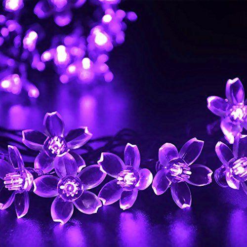 InnooTech 50er LED Solar Lichterkette Blumen Garten Au En Lila 5 Meter,  Solar Bl