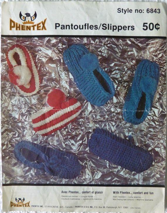 Vintage Phentex Knitting Pattern 6843  SLIPPERS by vintagememory, $5.00