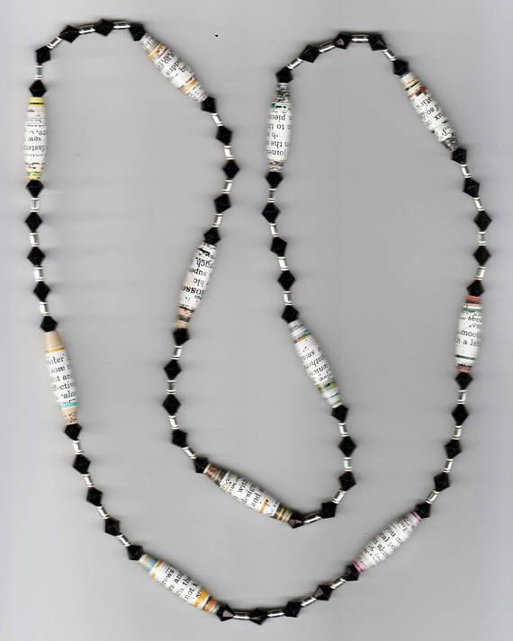 One-of-a-kind Handmade Necklace with Conversation Rolled Paper