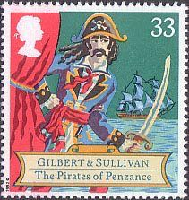 150th Birth Anniversary of Sir Arthur Sullivan (composer), Gilbert and Sullivan Operas 33p Stamp (1992) The Pirates of Penzance