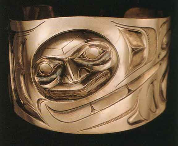 "Raven Transforming. Bracelet by Don Yeomans, 1992. Haida-Cree-Metìs. From ""North American Indian Jewelry and Adornment"" by Lois Shurr Dubin."