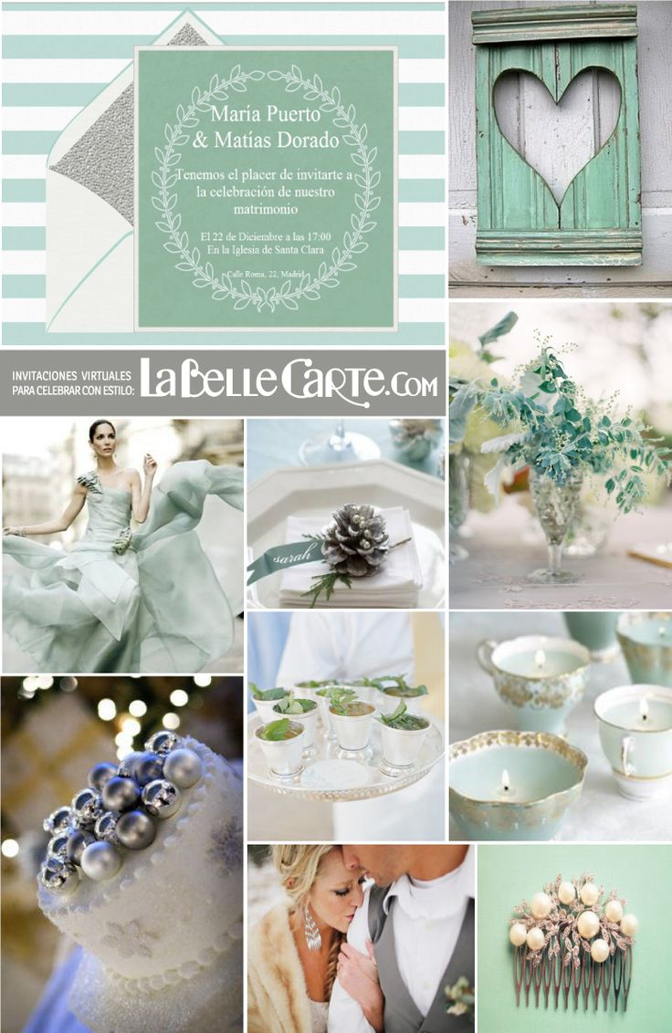 Wedding inspiration for christmas, mint and silver wedding. For More Ideas Visit: www.LaBelleCarte.com/en
