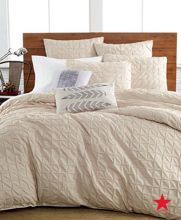 Bring on the neutrals this Fall. The box pleat tan bedding collection from Bar III will add a soothing sophistication to your bedroom