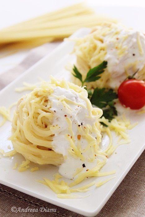 Spaghete cu sos de smantana - Pasiune pentru bucatarie- Retete culinare