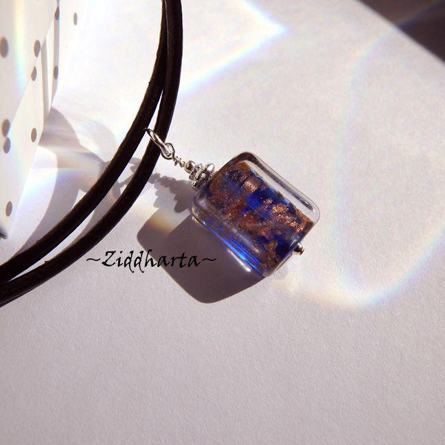 Handmade Dark Blue LampWork Necklace Cobolt GoldSand Necklace Halskette Kragen Halsband Necklace - Handmade Jewelry Necklaces by Ziddharta by Ziddharta on Etsy