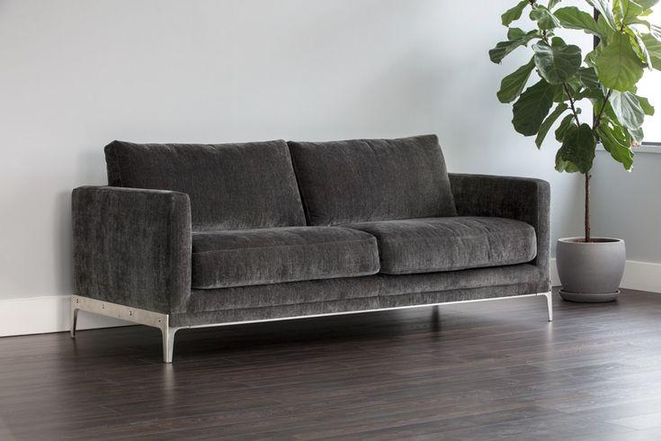 CHANDLER SOFA - Modern grey sofa with industrial style frame. Designed by Glen Peloso.