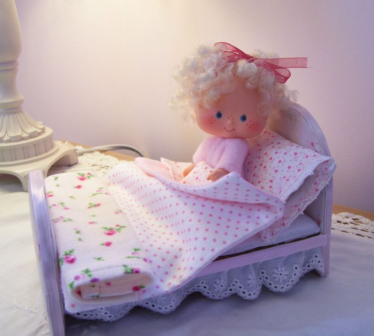 Look at the little tiny sheets! http://www.ebay.com/itm/Adorable-Bed-for-Vintage-Strawberry-Shortcake-Dolls-Pale-Pink-With-Roses-/141587773183?pt=LH_DefaultDomain_0&hash=item20f749f6ff