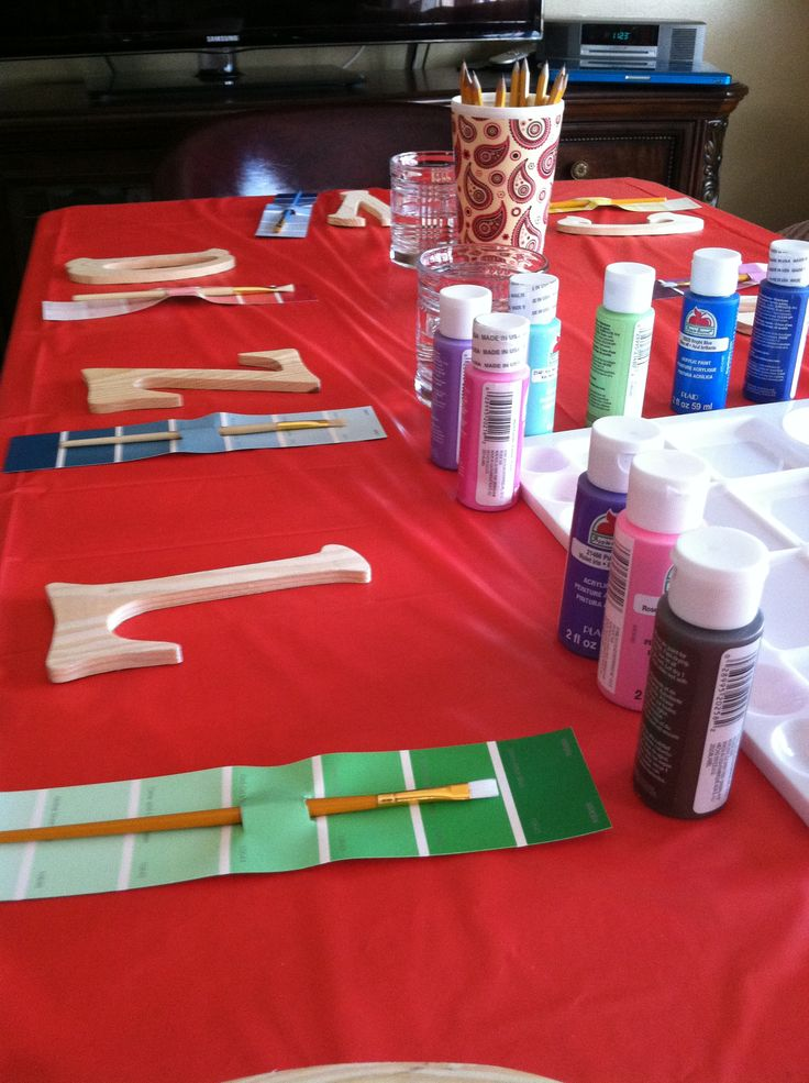 Having the kids paint the letter of there name for a party favor and a fun activity!!