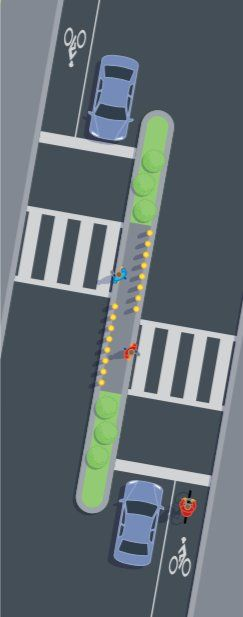 Danish offset crossing makes pedestrians face traffic in both directions. Click image for source and visit the Slow Ottawa boards >> https://www.pinterest.com/slowottawa/
