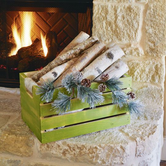 Display your wood for the fire in this rustic holiday storage crate for a warm cedar lodge feel ...