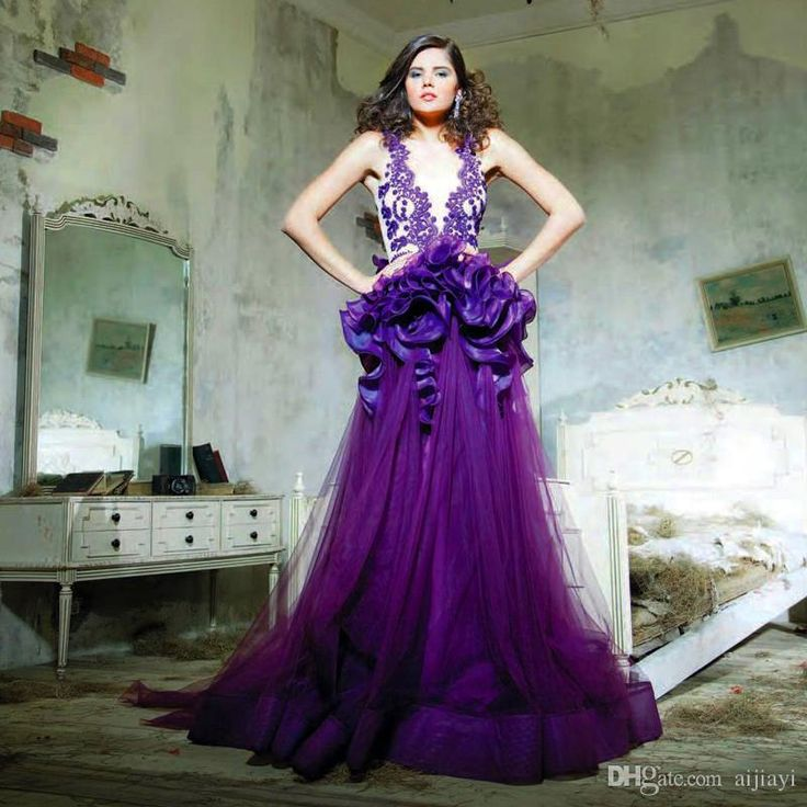 Find More Evening Dresses Information about 2015 Middle East Arabic Celebrity Dresses Evening Dresses Purple Applique A Line Prom Gowns V neck With Ruffle Party Gowns FD8,High Quality dress to wear to a wedding as a guest,China dresses dress up Suppliers, Cheap dresses belt from Suzhou Romantic Wedding Dress Co. Ltd on Aliexpress.com