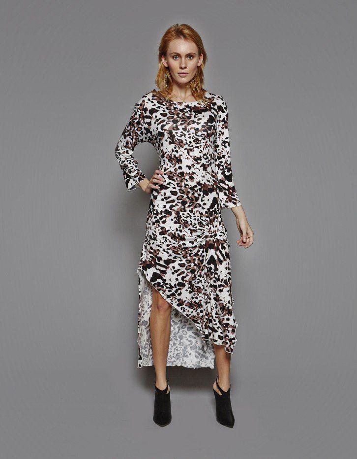Snow Leopard Print Maxi Dress
