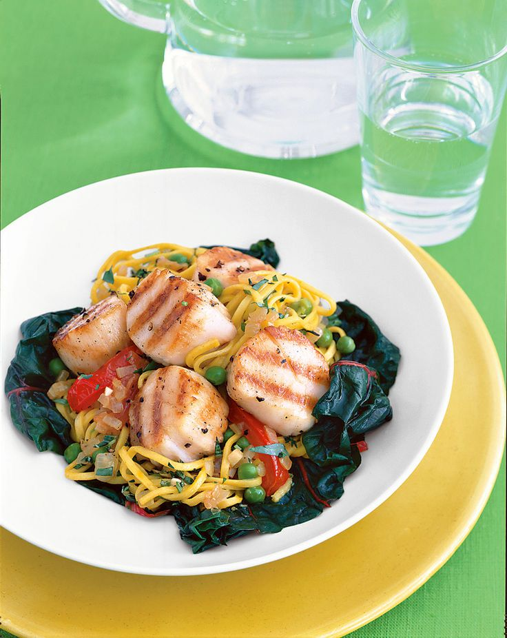 Get the recipe: Grilled Sea Scallops with Saffron Spaghetti, Vegetables and Fresh Herbs