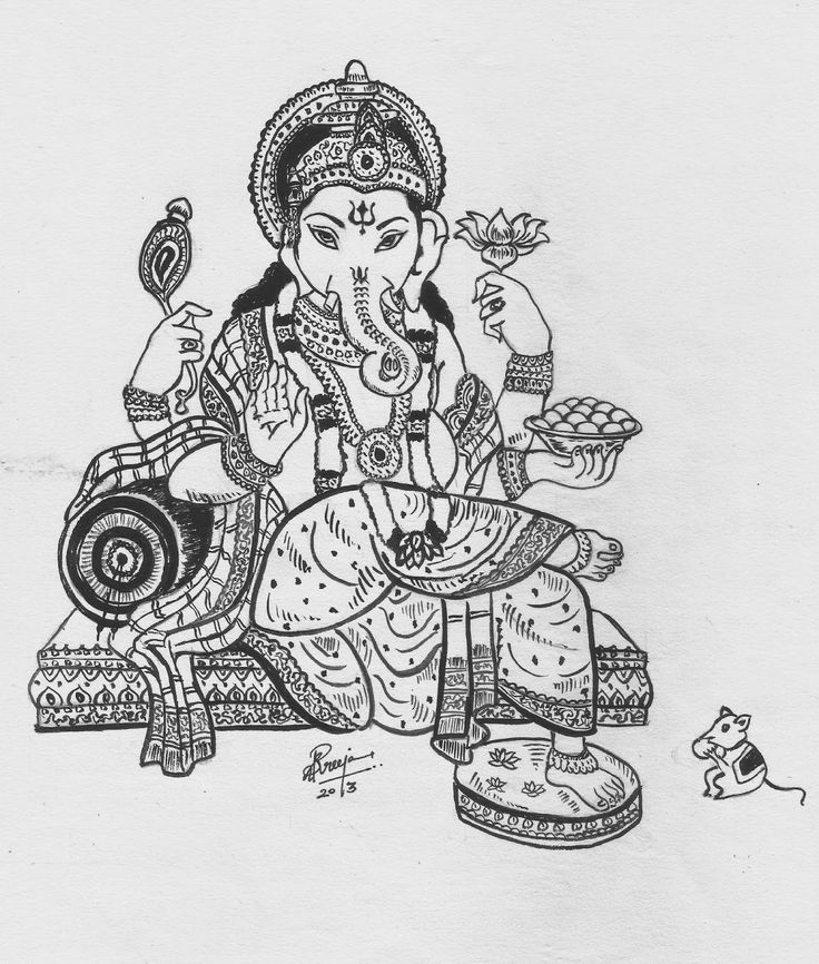 Lord Ganesh - Black and white Poster painting by Sreeja Renganath
