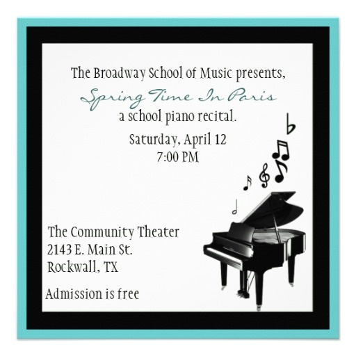 13 best recital invitations images on pinterest piano recital elegant custom piano recital invitation thecheapjerseys Image collections