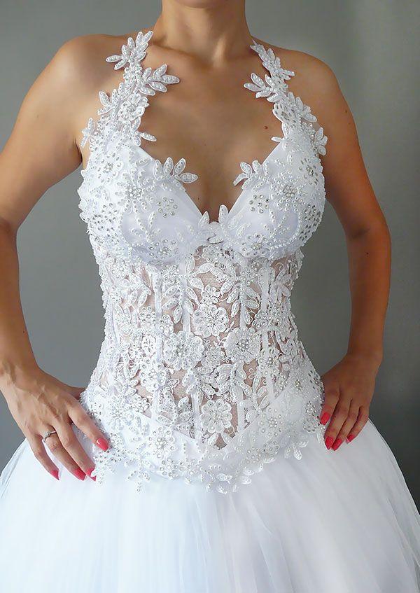 Rochie de mireasa printesa cu corset transparent COD IMP34-a