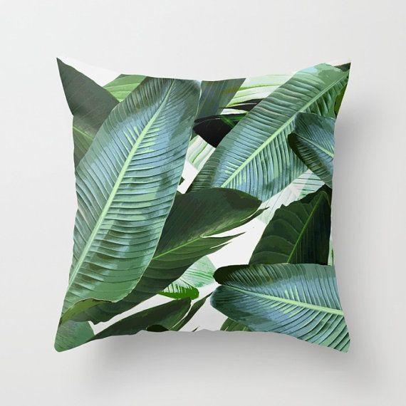 Coussin de feuilles de bananier, coussin, tissu résistant, 18 x 18 ou 20 X 20 pouces, feuille de palmier imprimé, design original,…