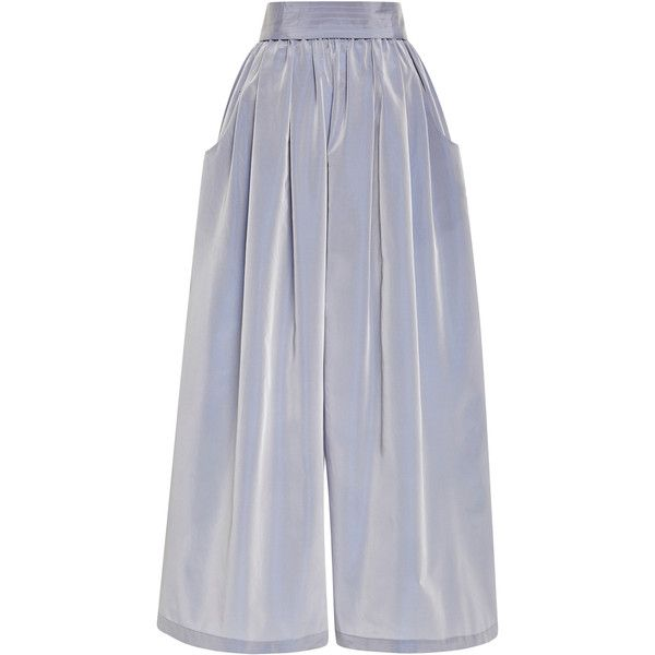 Tome Taffeta Karate Pants In Lavender ($258) ❤ liked on Polyvore featuring pants, capris, bottoms, high-waisted pants, high rise pants, lavender pants, highwaist pants and patch pants