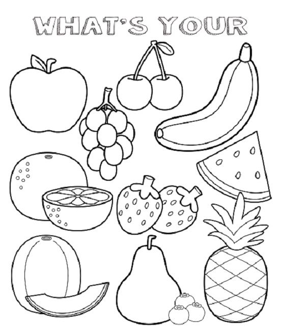 fruit coloring pages sheets