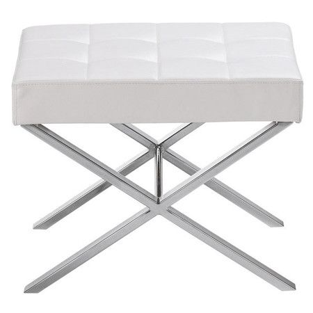 Midcentury-inspired bench with tufted faux leather top and polished steel legs. Product: BenchConstruction Mat...