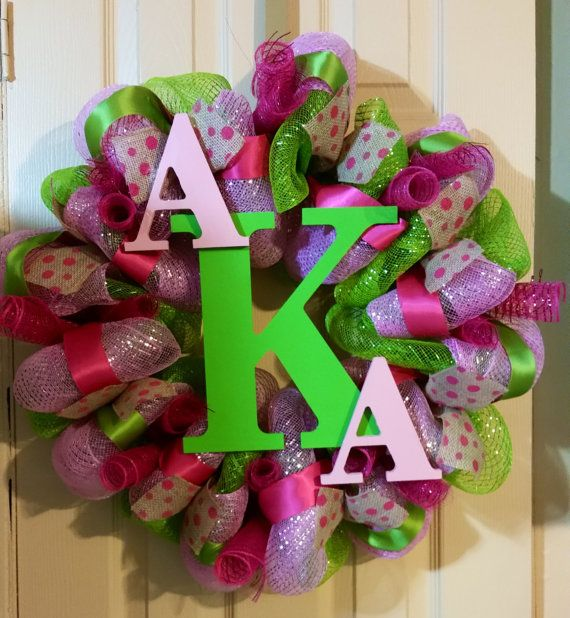 Check out this item in my Etsy shop https://www.etsy.com/listing/221456481/deco-mesh-alpha-kappa-alpha-wreath