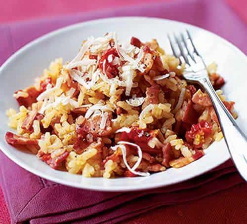 risotto aux lardons chorizo cookeo, un délicieux plat du riz pour la famille. facile et rapide à realiser chez vous avec votre cookeo.