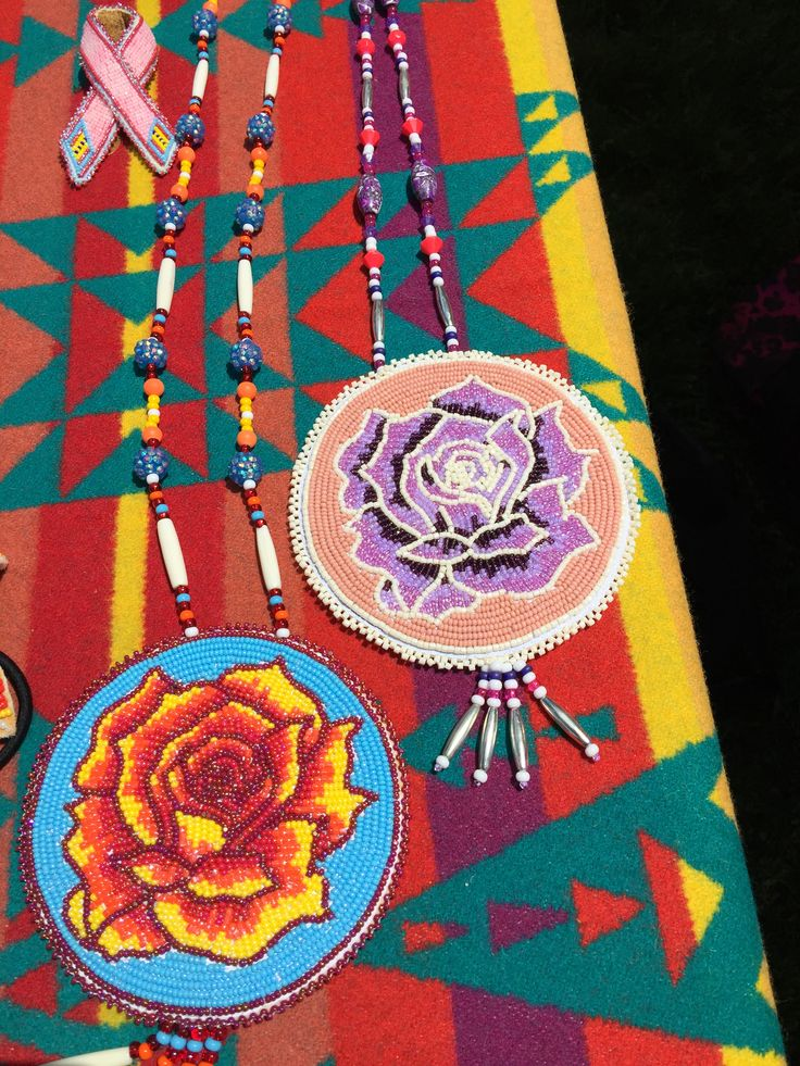 Beadwork: rose necklaces beaded by my daughter. She does amazing roses.