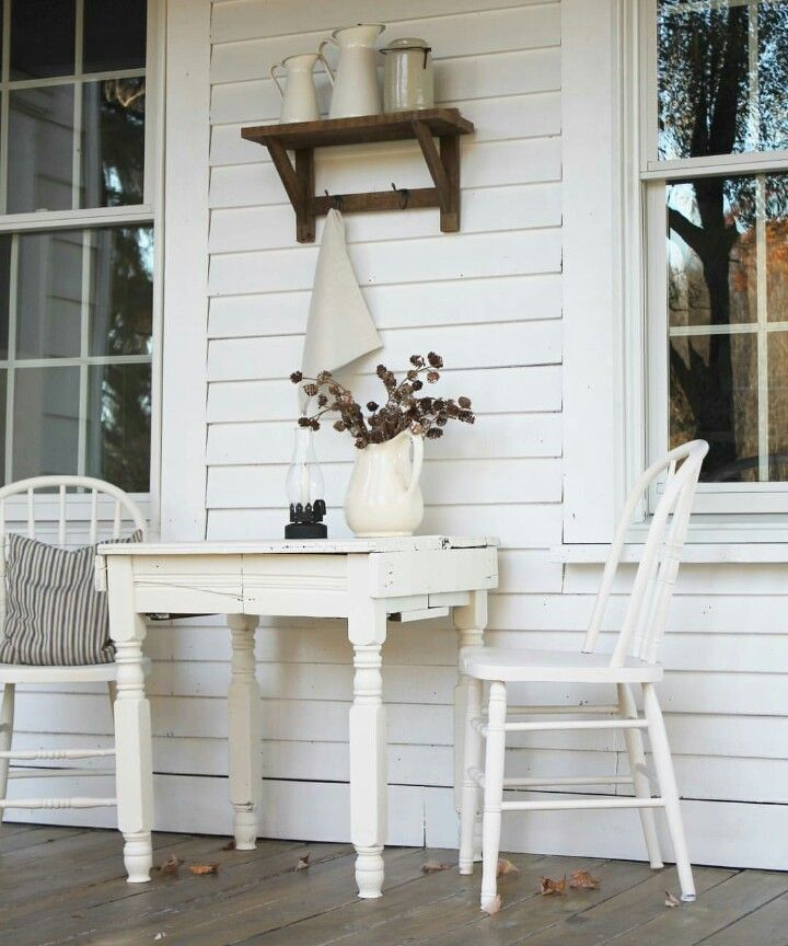 Paint my plant table white, take down initial, add shelf, would be oh so cute on our porch - FARMHOUSE5540