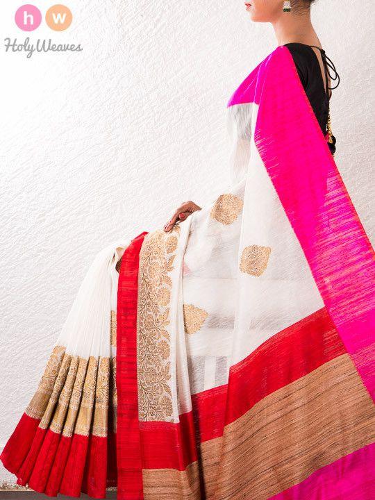 White Handwoven Linen Silk Kadhuan Brocade Saree - HolyWeaves