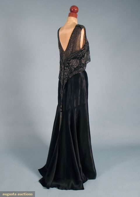 Black bias-cut silk charmeuse, square front neckline, silver beaded silk net over front & back bodice, deep V back w/ V shape beaded panel & long bead tassel, Traina-Norell tag.  augusta-auction.comDresses 1930S, Black Dresses, 1930S Black, Parties Dresses, 1930S Evening Dresses, 1930S Beads, Vintage 1930 Evening Gowns, Textiles Sales, Augusta Auction