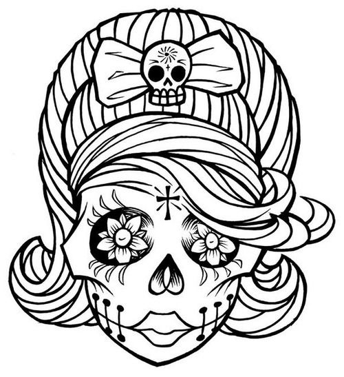 sugar skull girl adult coloringcoloring bookcoloring - Sugar Skull Tattoo Coloring Pages