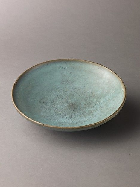 Shallow dish, Jun ware Chinese , Northern Song Dynasty   Date: 11th–12th century   Stoneware with blue glaze   Ceramics