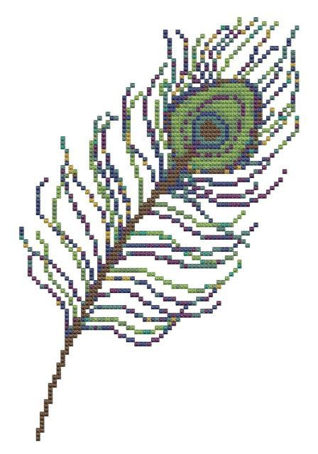 peacock feather cross stitch pattern pdf от pickleladyfarm на Etsy