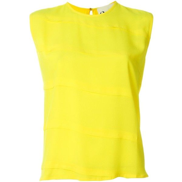 8pm Paneled Sleeveless Top ($196) ❤ liked on Polyvore featuring tops, blusa, sleeveless tank, yellow top, yellow sleeveless top, sleeveless tops and yellow tank