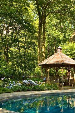 """Great gazebo with flower garden""""  """"English Garden ideas""""  """"Sonias Garden...Leafy flowers"""""""
