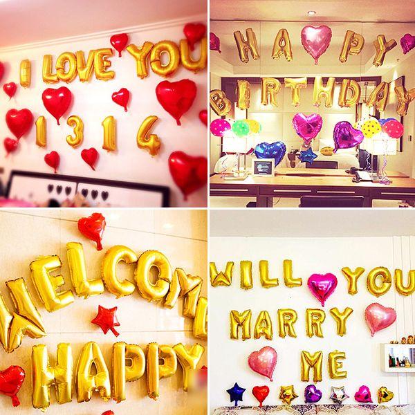 Свадебной идеи свадебные украшения алюминиевой пленки золотой буквы цифры воздушный шар пакет детский день рождения воздушные шары украшения