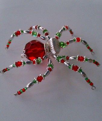 Christmas Spider Ornament Red Green Silver Swarovski Crystals & Glass Legend