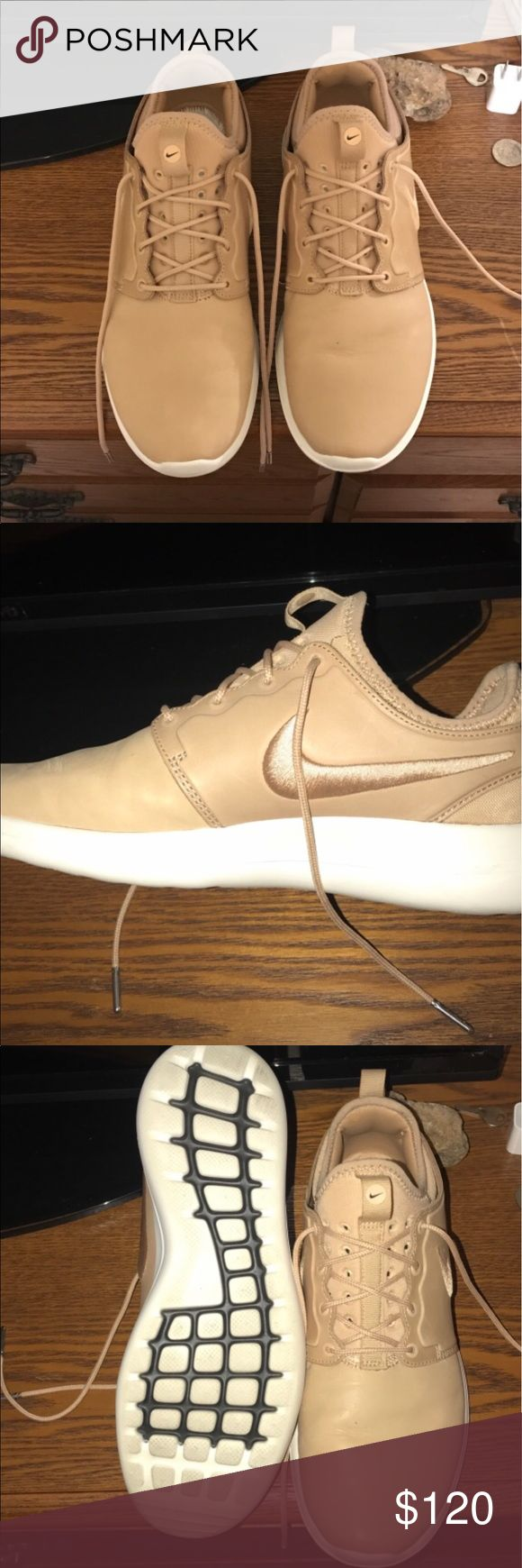 Custom Leather Nike Roshe's Bought from Bodega (custom shoe store in Boston, MA) - these shoes are basically new. No flaws. I will have the bottoms cleaned before shipping! All leather! They are men's shoes but I wear a women's size 9.5 and bought them for myself. Very comfortable and fashionable. Nike Shoes Athletic Shoes