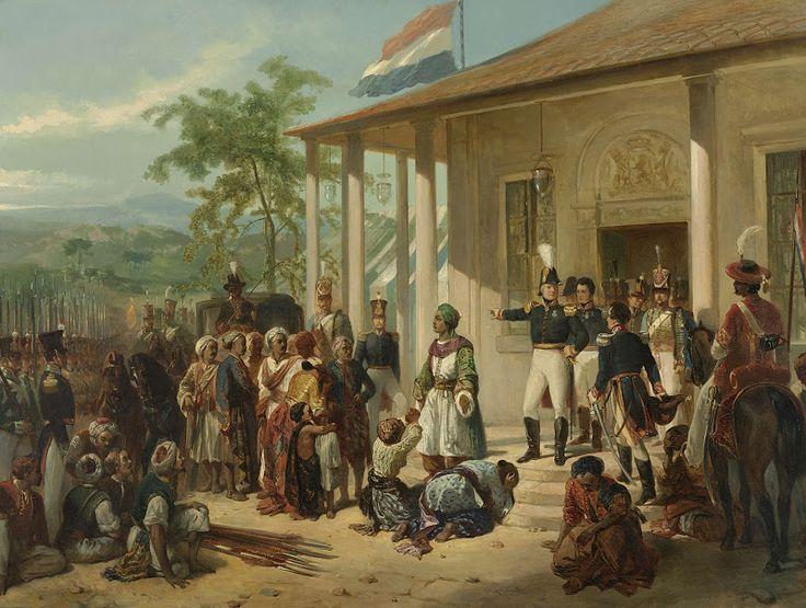 De onderwerping van prins Diponegoro aan luitenant-generaal Baron de Kock, 28 maart 1830. Nicolaas Pieneman, ca. 1830-1835
