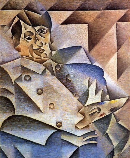 Retrato de Pablo Picasso (1912) ~ Juan Gris ~ Cubismo Analítico
