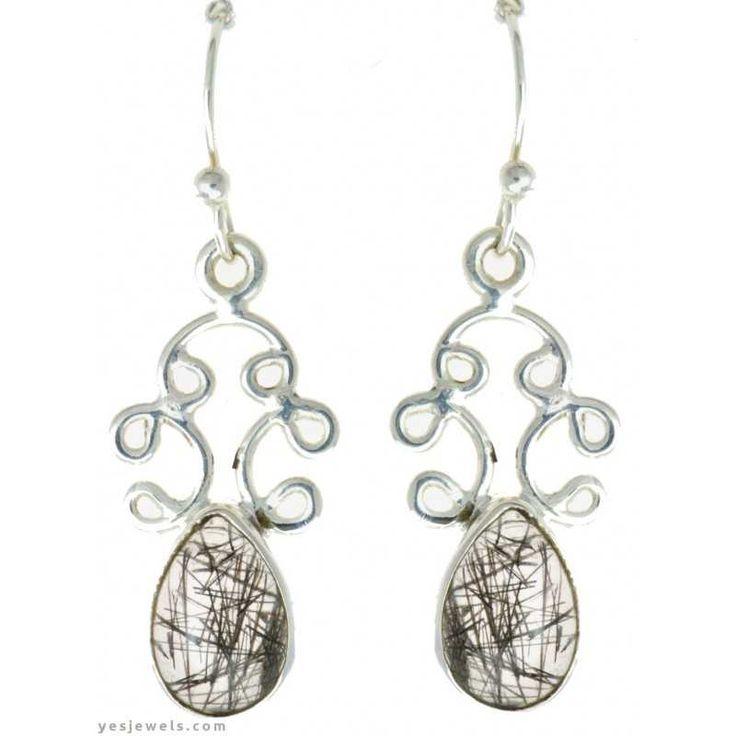 Rutil kuvars gümüş küpe güvenli takı alışveriş sitesi YesJewels.com`da